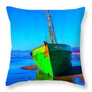 Forgotten Green Boat Throw Pillow