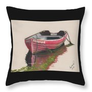 Forgotten Red Boat II Throw Pillow