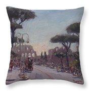 Fori Romani - Street To Colosseo Throw Pillow