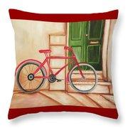 Forlorn Bike Throw Pillow