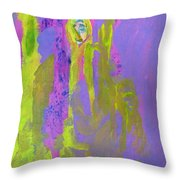 Forlorn In Purple And Yellow Throw Pillow