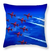 Formation Flying Britains Red Arrows Throw Pillow