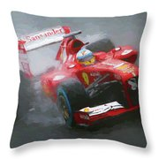 Formula One Burning The Track Throw Pillow