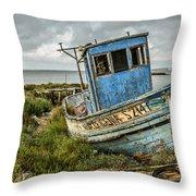 Forsaken Fishing Boat Throw Pillow