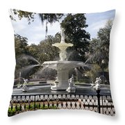 Forsyth Fountain Park Throw Pillow