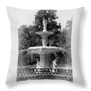 Forsyth Park Fountain Black And White With Vignette Throw Pillow