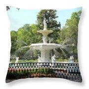 Forsyth Park Fountain Square Throw Pillow