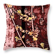 Forsythia Branch Throw Pillow