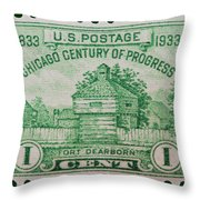 Fort Dearborn Postage Stamp Throw Pillow