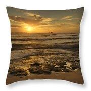 Fort Haze Beach Throw Pillow