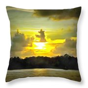 Fort Island Trail Sunset Throw Pillow