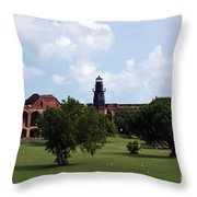 Fort Jefferson Parade Grounds And Harbor Light Throw Pillow