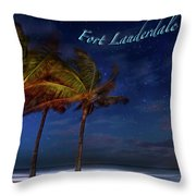 Fort Lauderdale Beach Greeting Throw Pillow