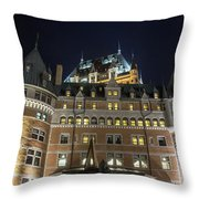 Fort  Of Quebec City At Night Throw Pillow