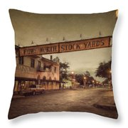 Fort Worth Impressions Stockyards Throw Pillow