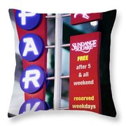 Fort Worth Parking Sign Digital Oil Paint Throw Pillow