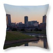 Fort Worth Skyline At Sunset Throw Pillow
