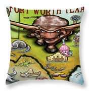 Fort Worth Texas Cartoon Map Throw Pillow