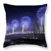 Forth Road Bridge Fireworks Throw Pillow