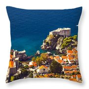 Fortress Of Dubrovnik From Above Throw Pillow