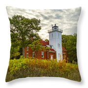Forty Mile Point Lighthouse Lake Huron Lower Peninsilat Mi  Throw Pillow