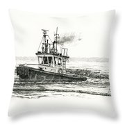 Foss Tugboat Sea Duke Throw Pillow