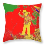 Fossil Hunter Red Yellow Green Throw Pillow