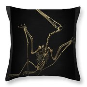 Fossil Record - Gold Pterodactyl Fossil On Black Canvas #4 Throw Pillow