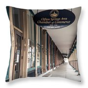 Foster Building In Clifton Springs Throw Pillow