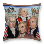 Founding Fathers Jay Madison Paine And Hamilton Throw Pillow