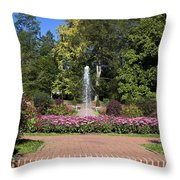 Fountain Among Flowers Throw Pillow