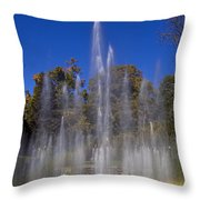 Fountain And Rainbow Throw Pillow