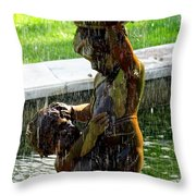 Fountain Cherubs Throw Pillow