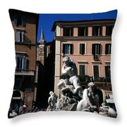 Fountain Depicting Neptune The Piazza Navona The Spire Of The Church Of Santa Maria Della Pace Rome Throw Pillow