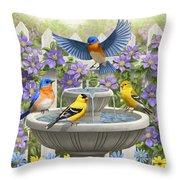 Fountain Festivities - Birds And Birdbath Painting Throw Pillow