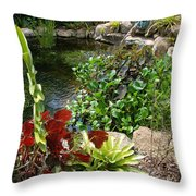 Fountain Flowers Throw Pillow