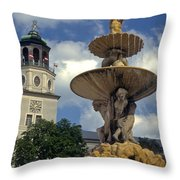 Fountain In Residenzplaz Square Throw Pillow