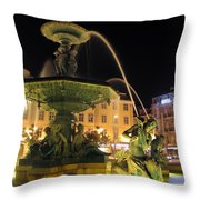 Fountain In Rossio Square Throw Pillow