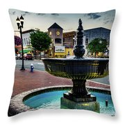 Fountain In Small Town Throw Pillow