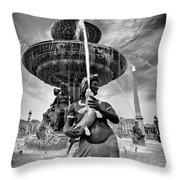 Fountain On Place De La Concorde - Paris Throw Pillow