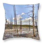 Fountain Paint Pots Lodgepole Pines - Yellowstone Throw Pillow