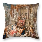 Fountain Scene In Front Of A Palace Throw Pillow