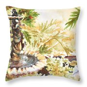 Fountain With Clay Birds Throw Pillow