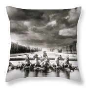 Fountain With Sea Gods At The Palace Of Versailles In Paris Throw Pillow