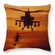 Four Ah-64 Apache Anti-armor Throw Pillow
