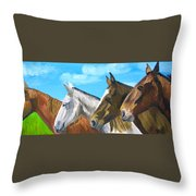 Four Amigos Throw Pillow