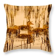 Four Baby Duckies Throw Pillow