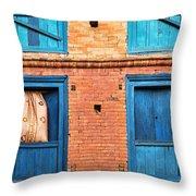 Four Blue Windows Throw Pillow