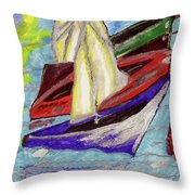 Four Boats Throw Pillow