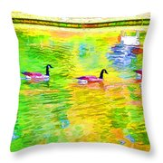 Four Canadian Geese In The Water 1 Throw Pillow